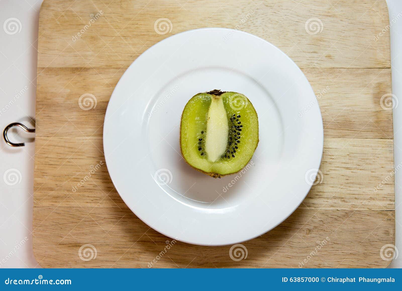 Kiwi fruit isolated on block and white dish decoration for Decoration kiwi
