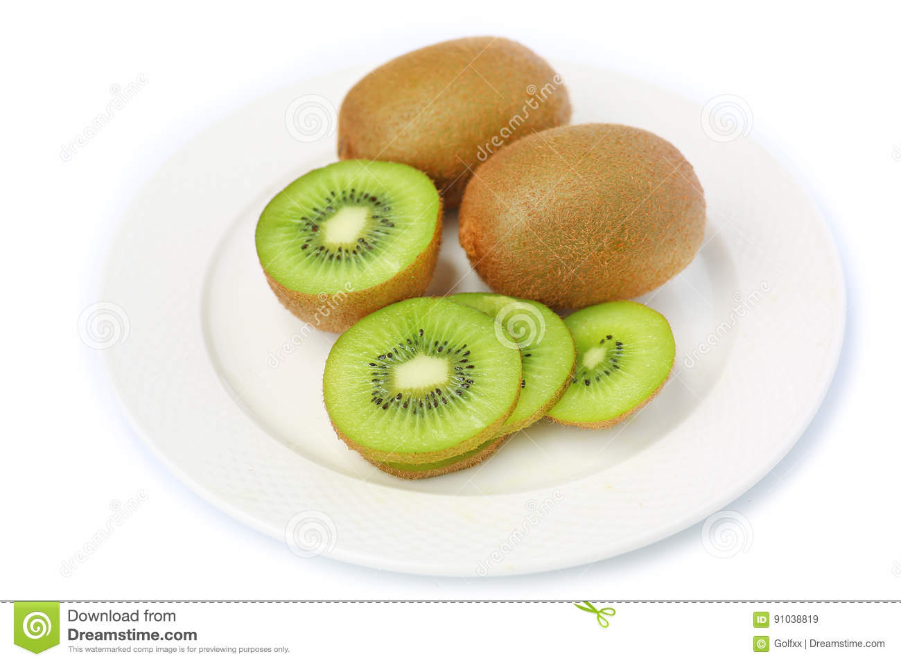 Kiwi fruit in white plate