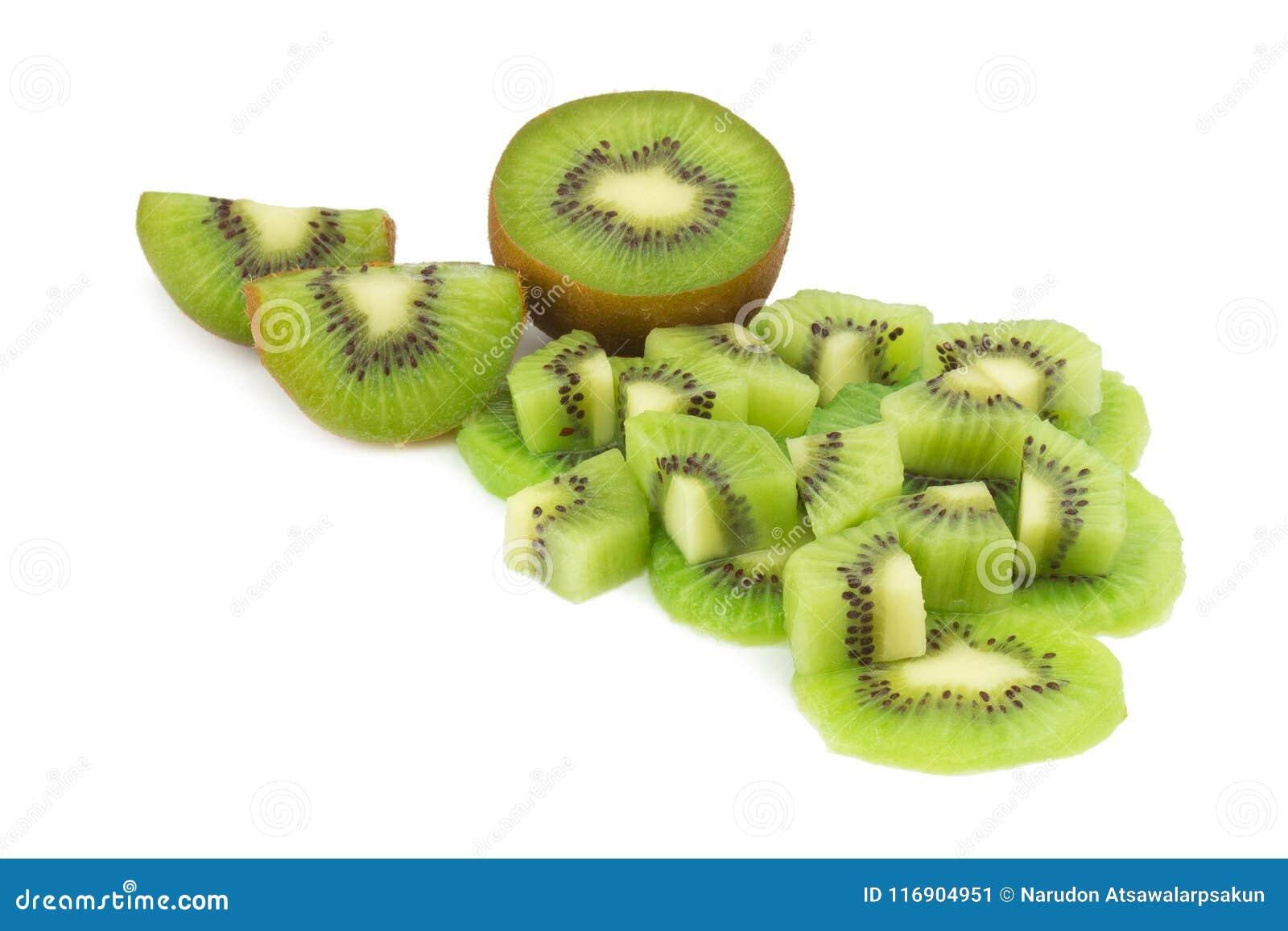 Kiwi owoc kawałek plasterek halfback pojedynczy białe tło