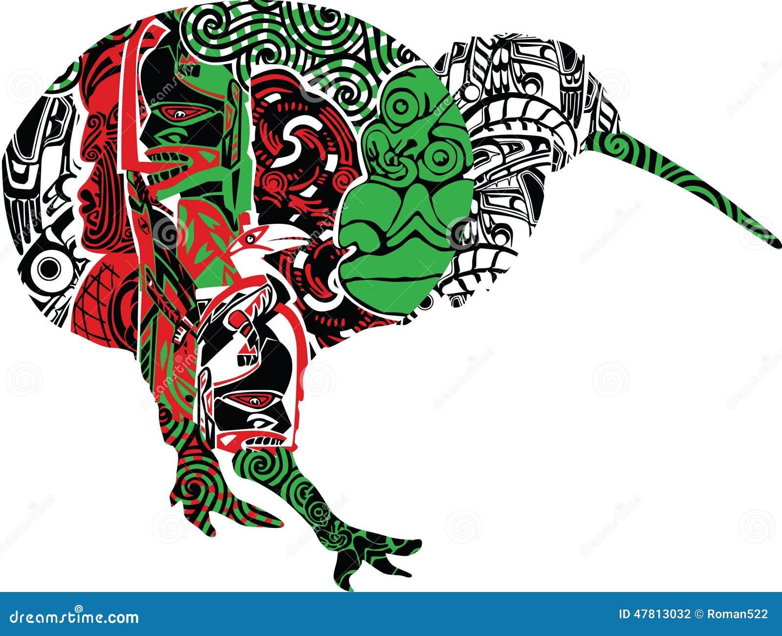 Maori Kiwi Tattoo: Kiwi In The Patterns Stock Vector
