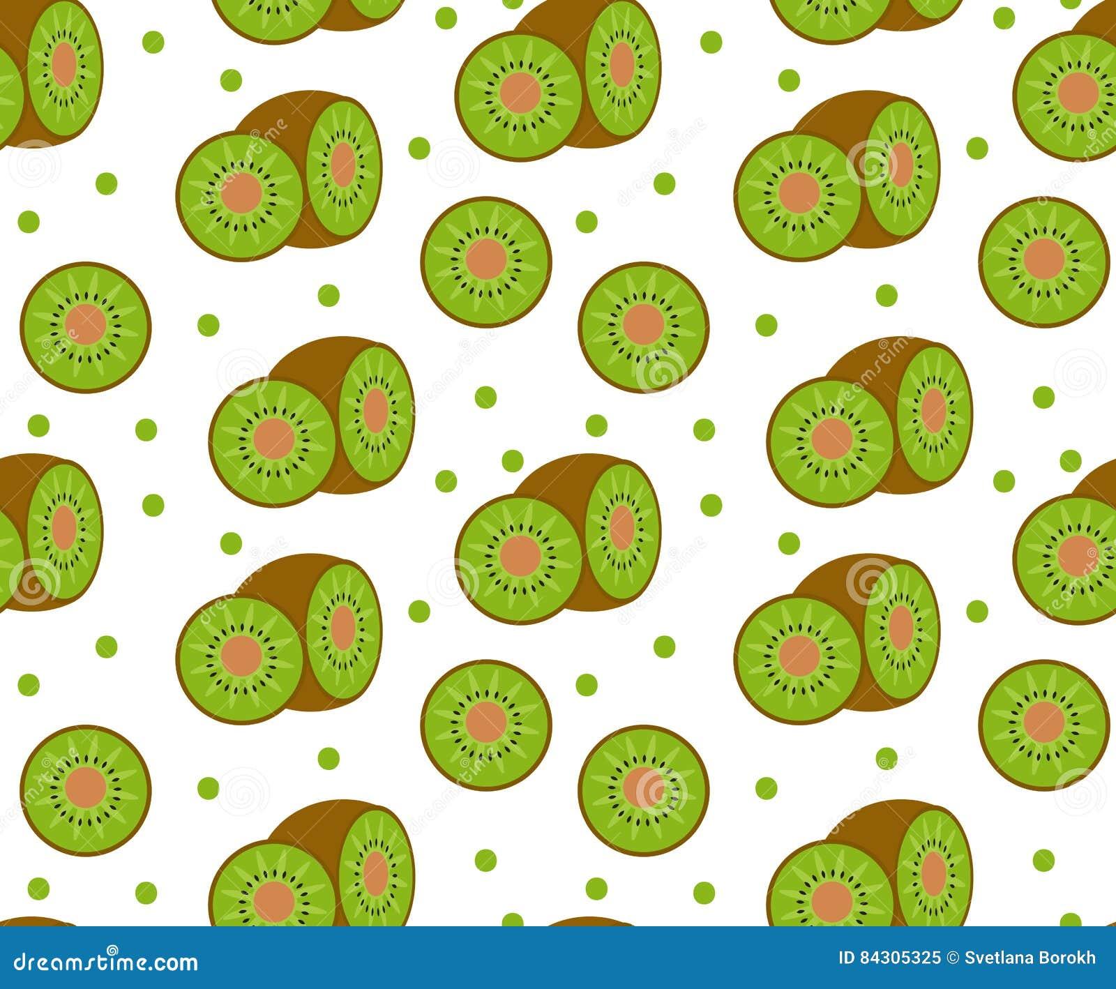 Kiwi seamless pattern. Kiwifruit endless background, texture. Fruits backdrop.