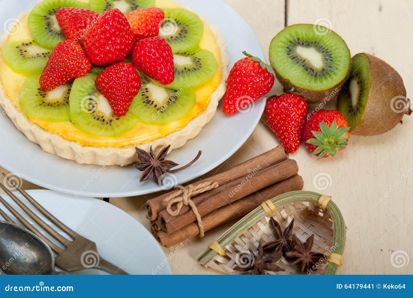 Kiwi And Strawberry Pie Tart Stock Photo - Image: 64179441