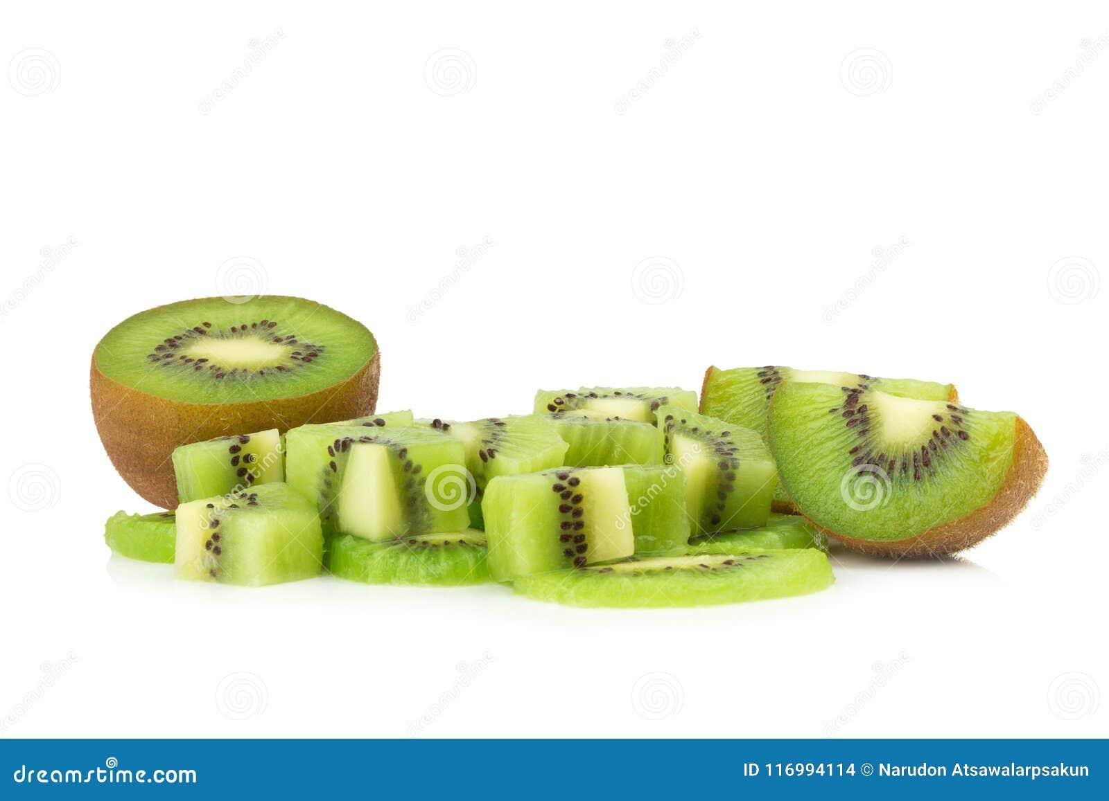 Kiwivruchten stuk plak half Geïsoleerdj op witte achtergrond