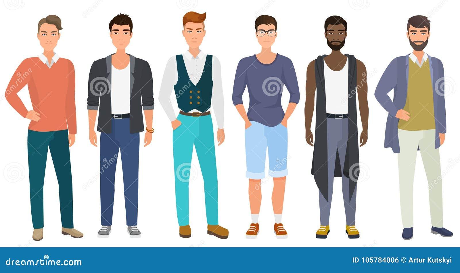 Kläder för stil för stilfullt stiligt mode för män iklätt modernt tillfälligt manlig, vektorillustration Plan vektor för tecknad