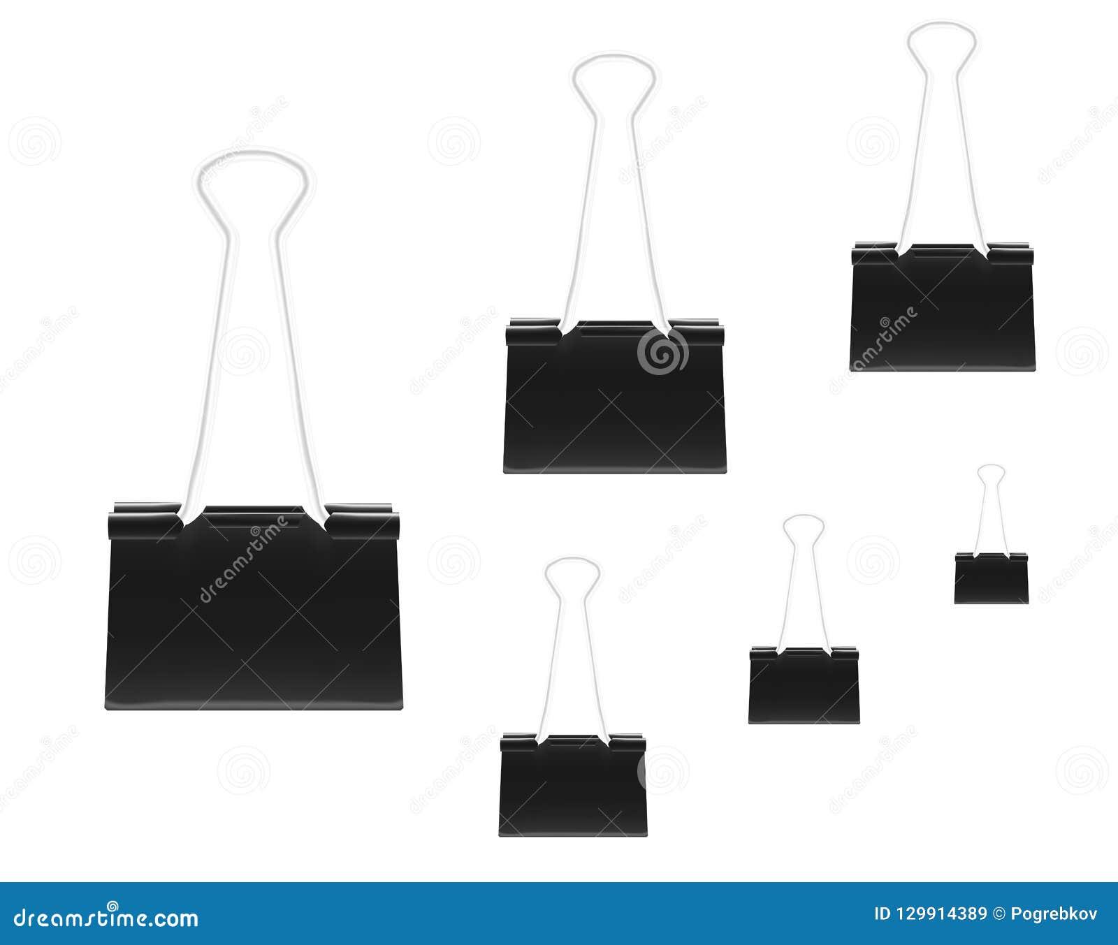 Klämmor för papper, svarta metalllimbindninggem - olik formatvecto