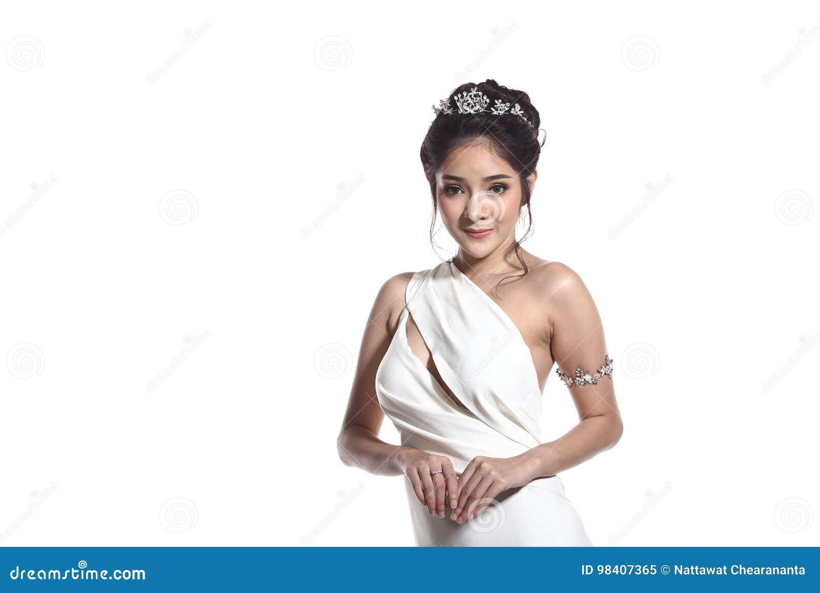 Klänning för boll för aftonkappa i asiatisk härlig kvinna med modemor