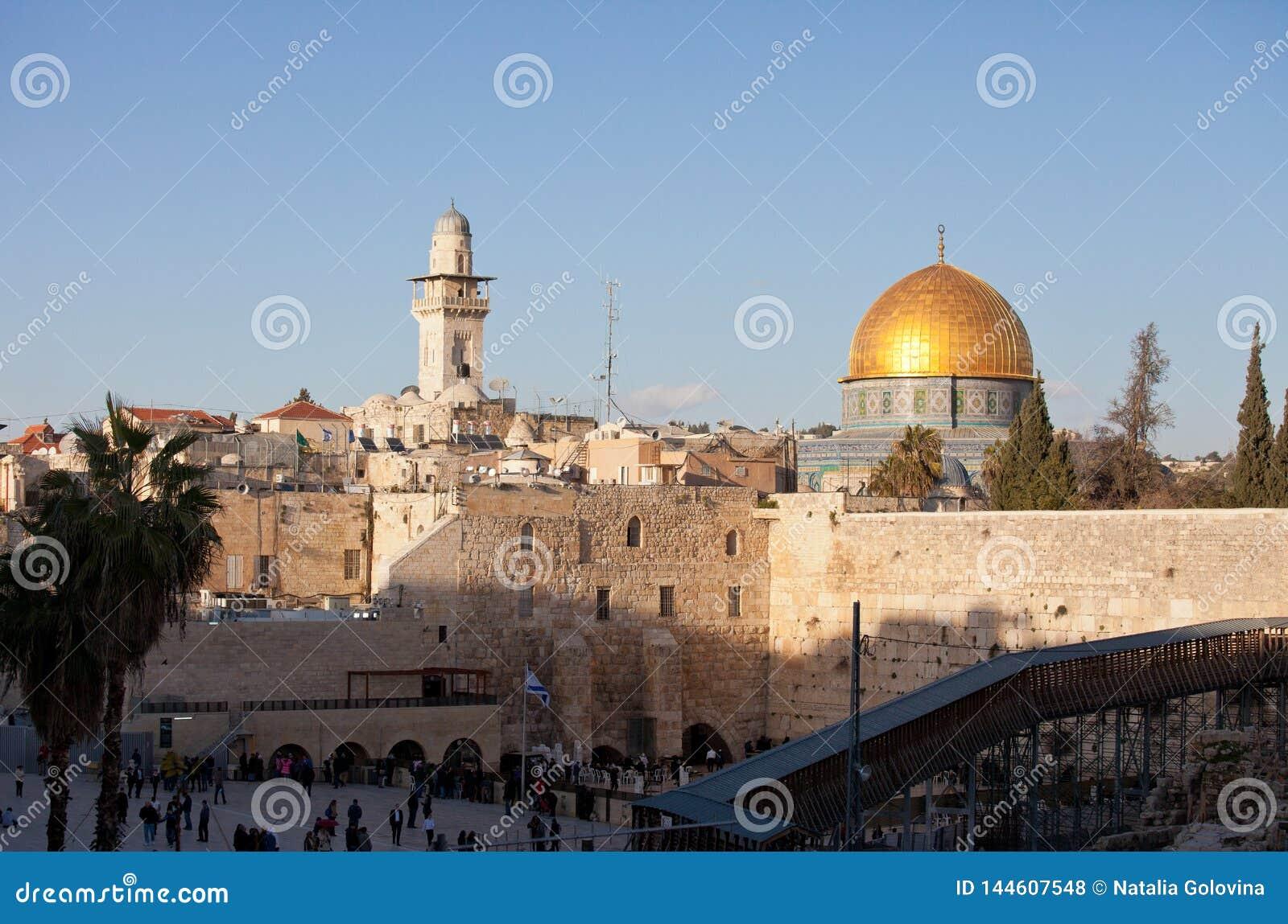 Klagemauer und Golden Dome des Felsens bei Sonnenuntergang, alte Stadt Jerusalems, Israel