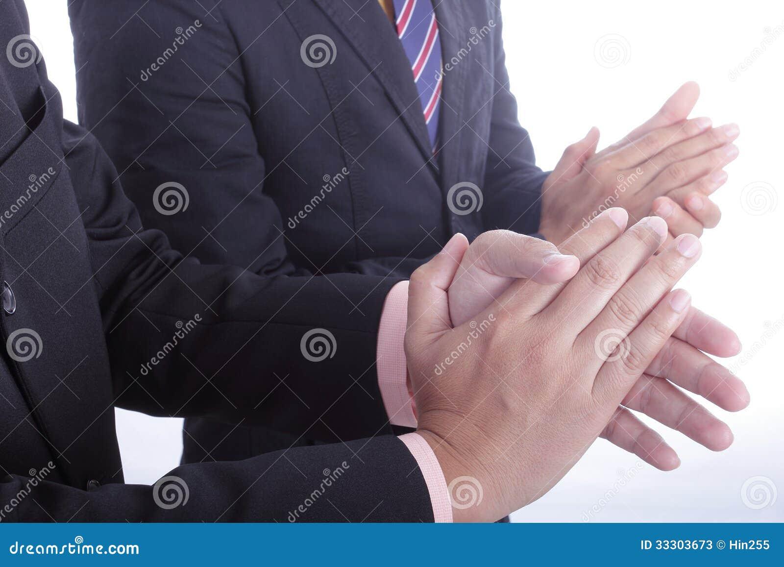 Klasczący ręki dla powitania i gratulacje dla docenia