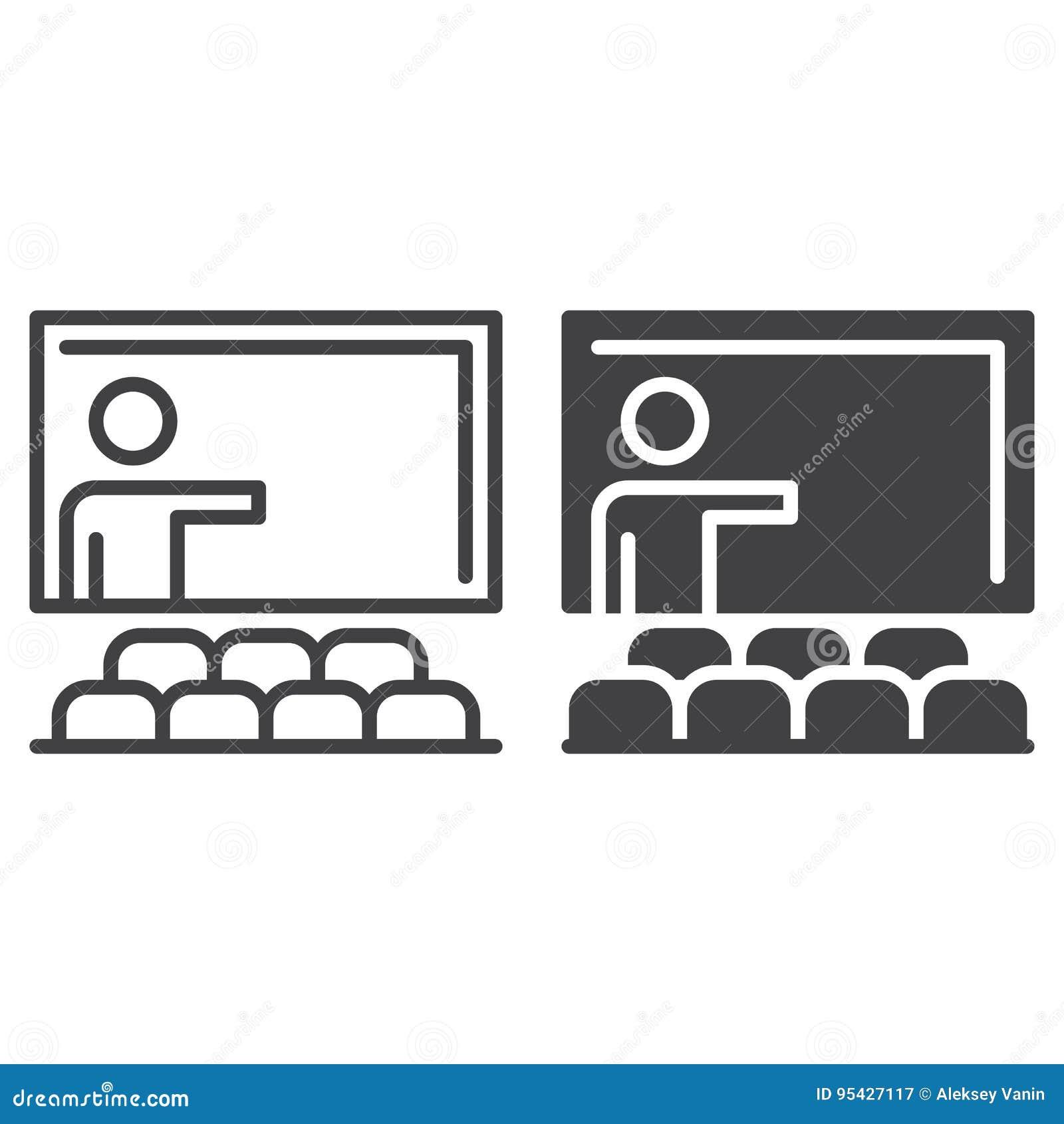 Klaslokaallijn en stevig pictogram, overzicht en gevuld vectorteken, lineair en volledig die pictogram op wit wordt geïsoleerd