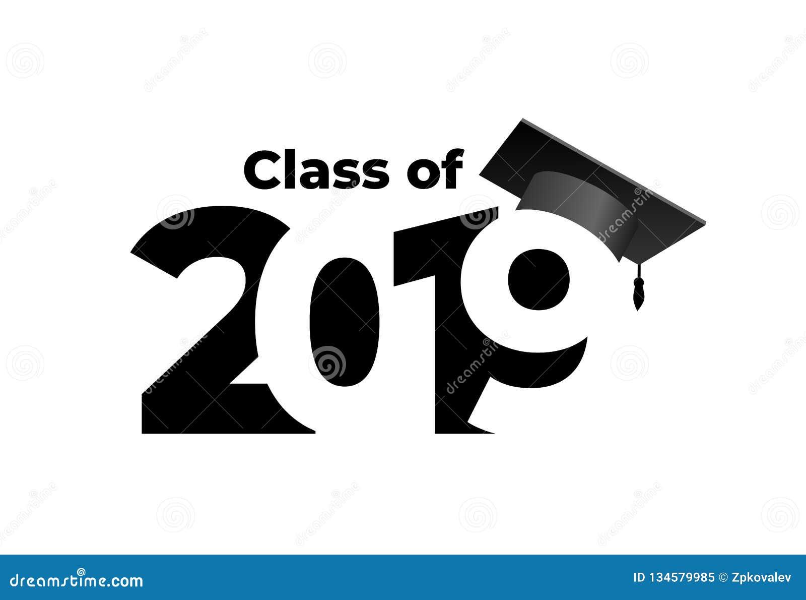 Klasse van 2019 met graduatie GLB Het patroon van het tekstontwerp Vector illustratie Geïsoleerdj op witte achtergrond