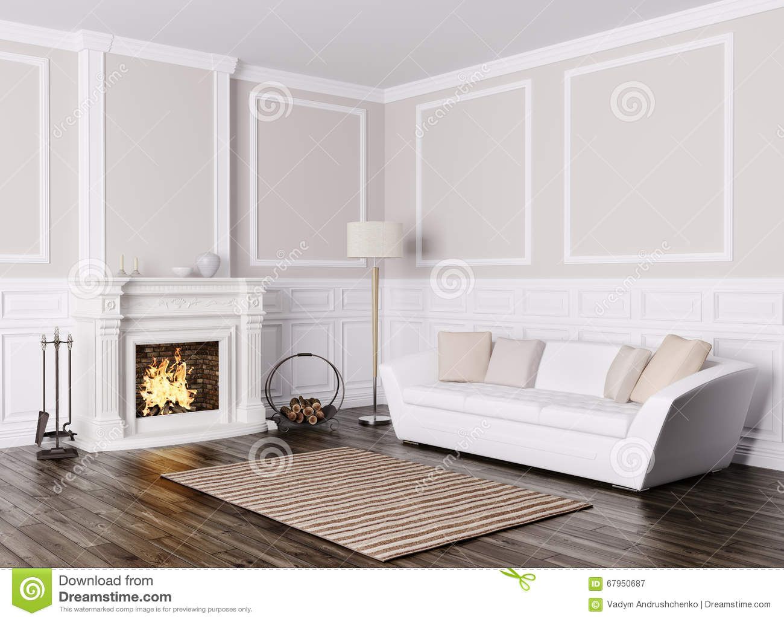 Klassiek binnenland van woonkamer met bank en open haard 3d rende ...