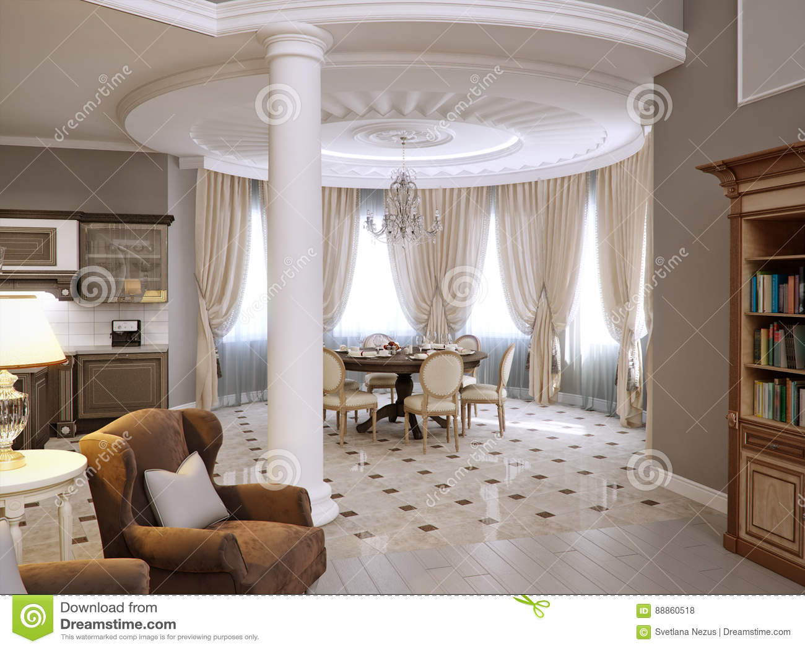 Klassiek woonkamer keuken en eetkamer binnenlands ontwerp stock