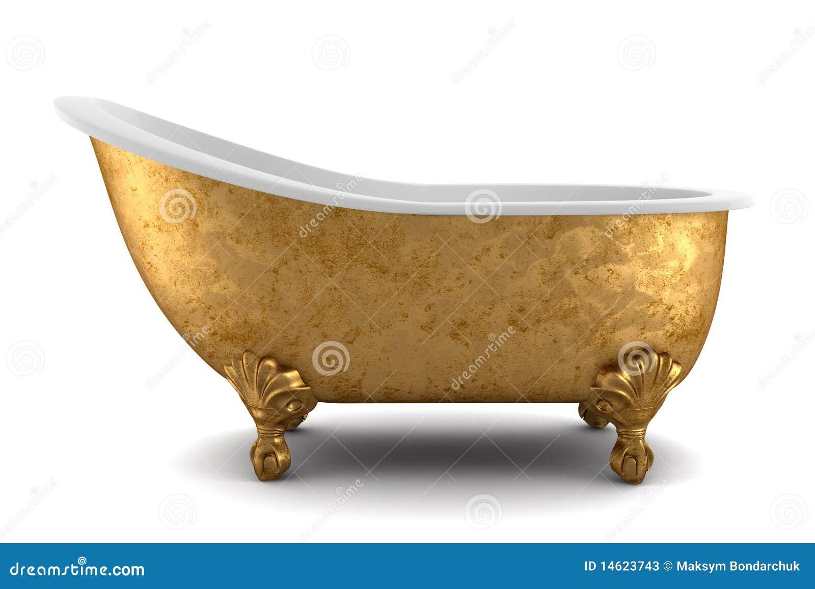 Klassieke badkuip die op witte achtergrond wordt ge u00efsoleerde