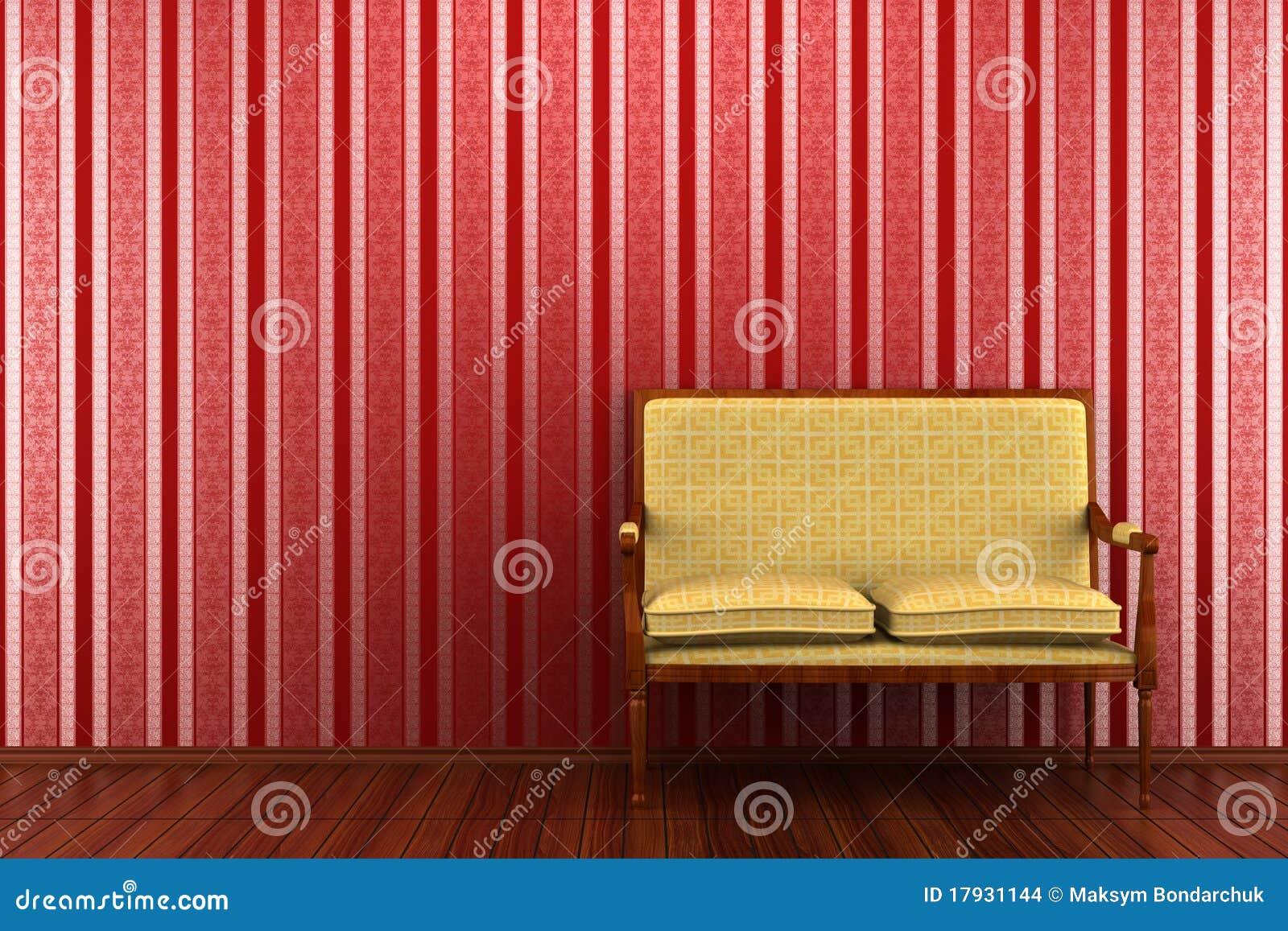 Klassieke bank voor rode gestreepte muur stock afbeeldingen beeld 17931144 - Klassieke bank ...