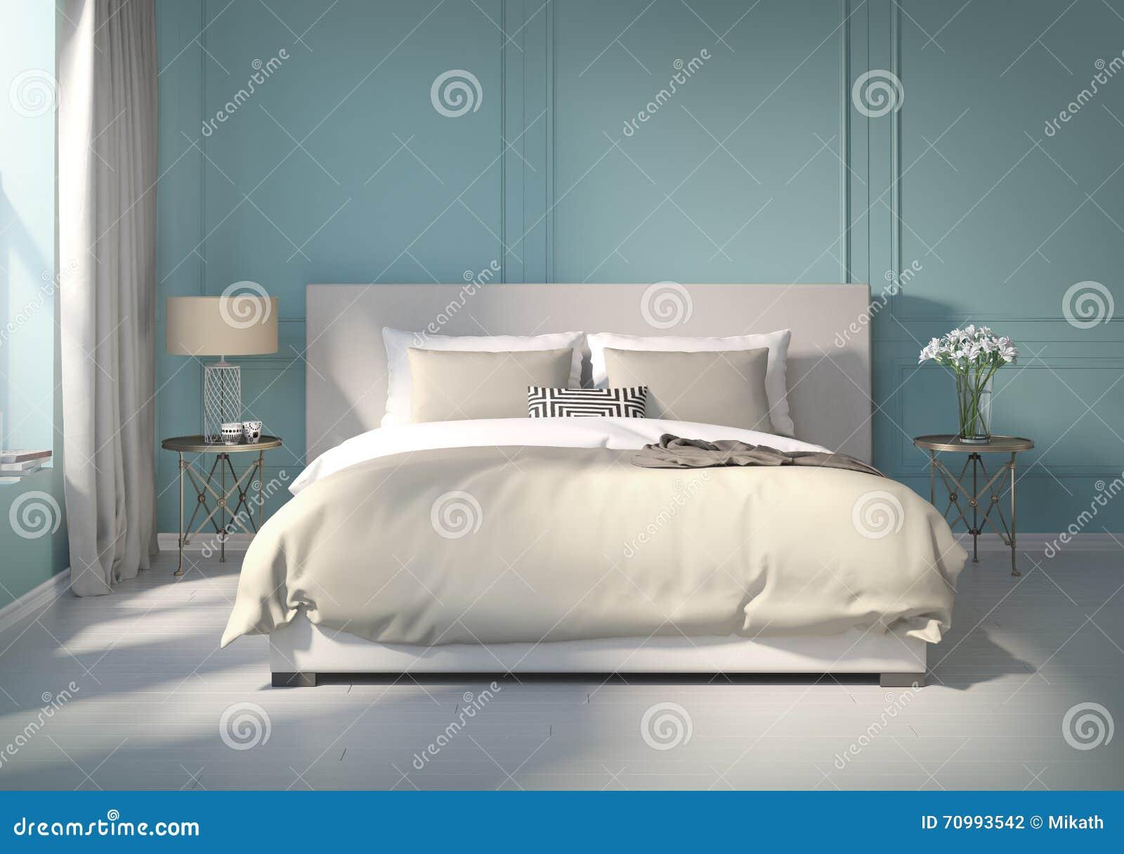 klassieke blauwe slaapkamer met witte vloer stock illustratie, Meubels Ideeën