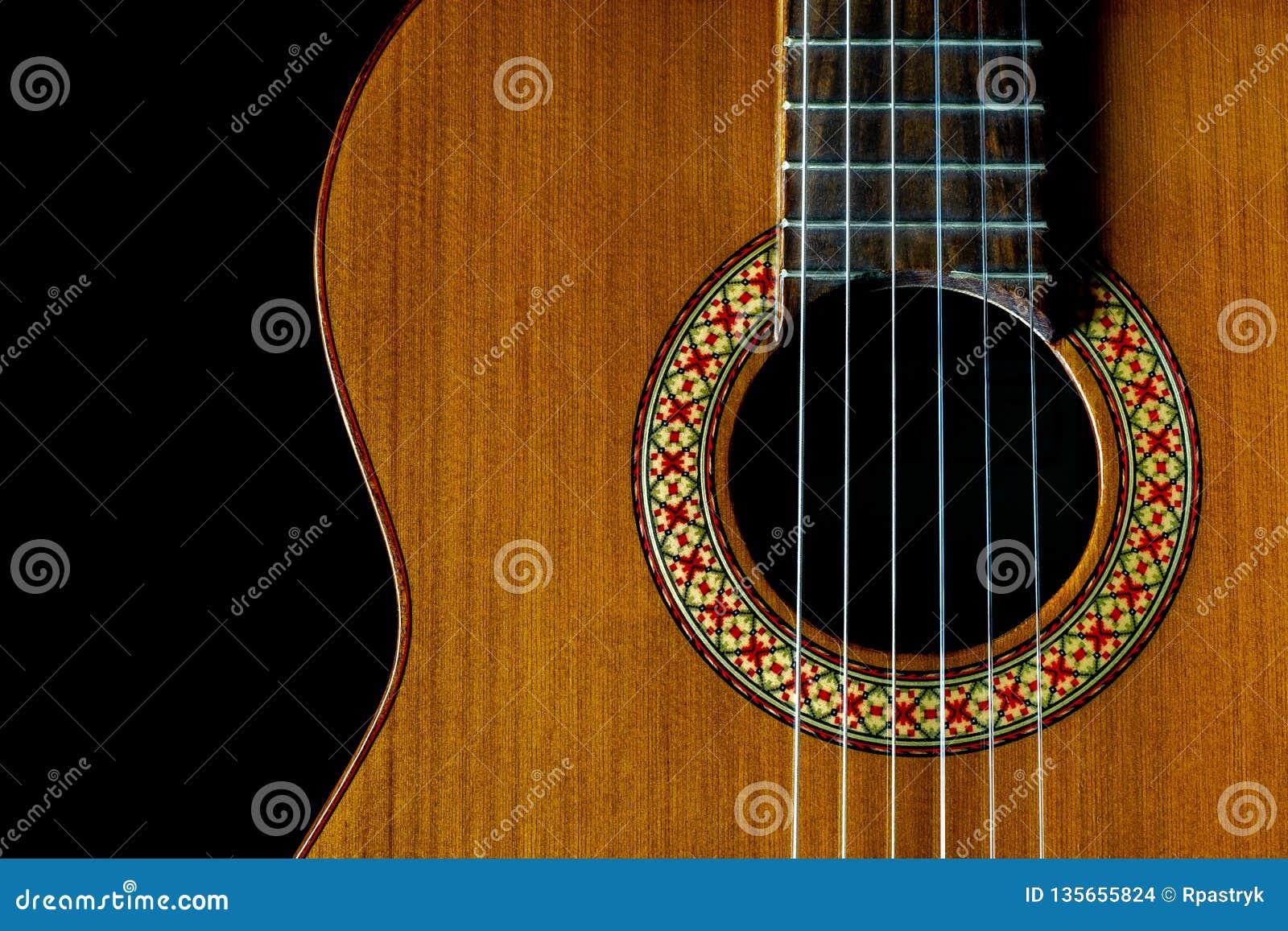 Klassieke de gitaar donkere close-up van Manuel Rodriguez Model A, exemplaarruimte