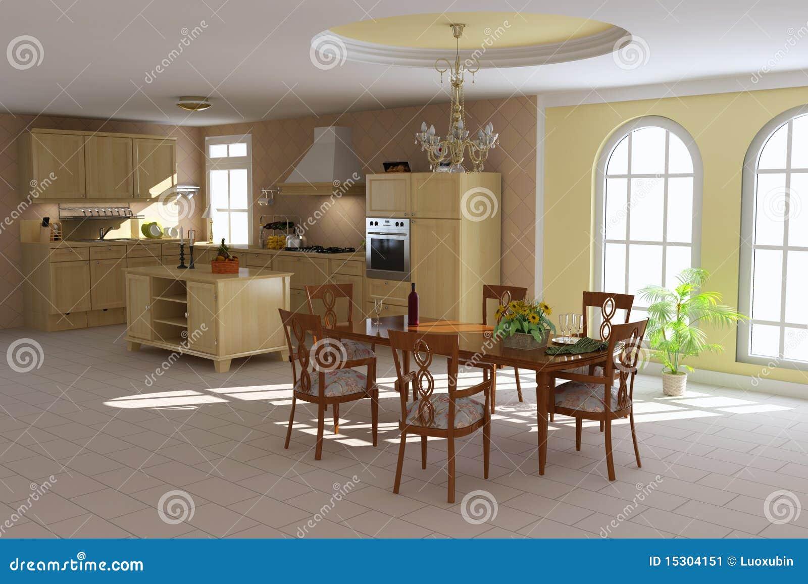 Klassieke eetkamer en keuken stock afbeelding beeld 15304151 - Eetkamer keuken ...