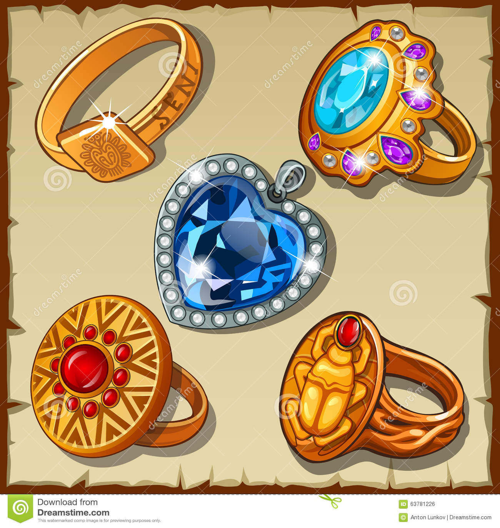 Klassieke En Antieke Ringen Met Symbolen Vector Illustratie   Afbeelding  63781226