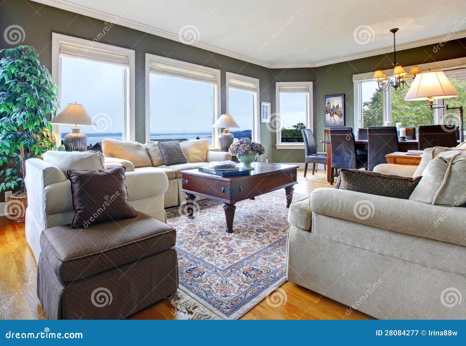 Klassieke groene woonkamer met aardig meubilair stock afbeelding