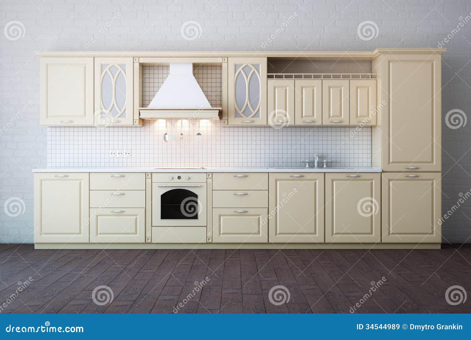 Het klassieke ontwerp van de luxe witte keuken met hard hout stock ...