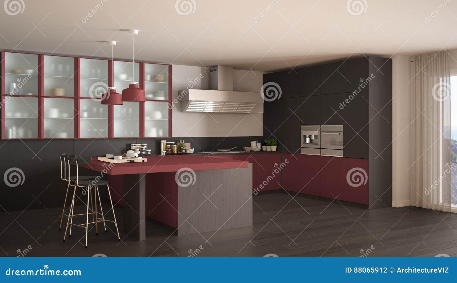 Klassieke minimale grijze en rode keuken met moderne parketvloer