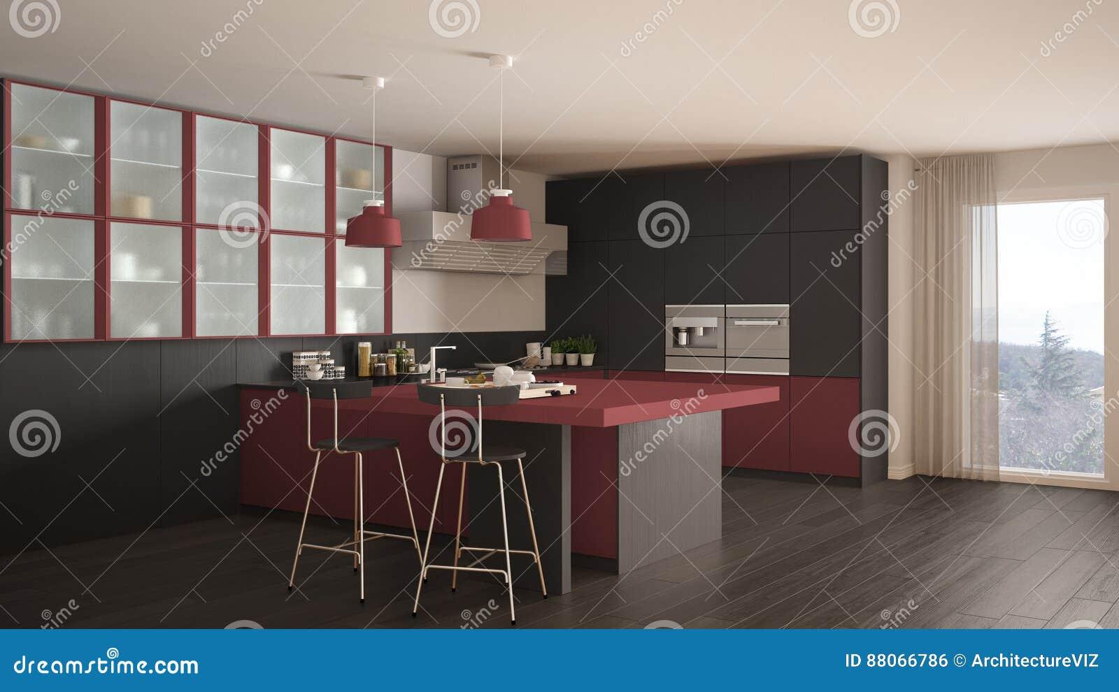Grijze Keuken Modern : Klassieke minimale grijze en rode keuken met moderne parketvloer