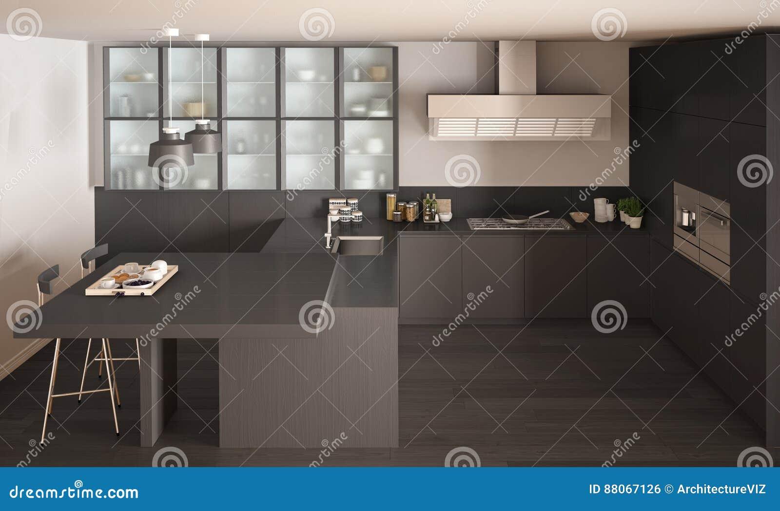 Grijze Keuken Modern : Klassieke minimale grijze keuken met parketvloer modern binnenland