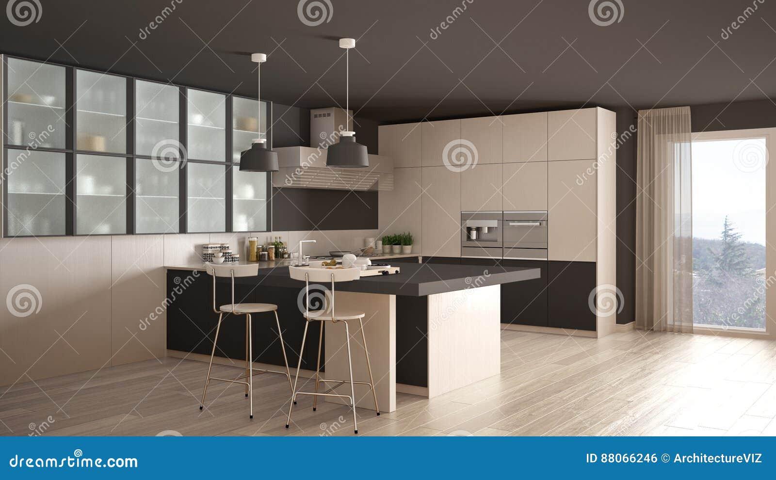 Grijze Keuken Modern : Klassieke minimale witte en grijze keuken met parketvloer moder