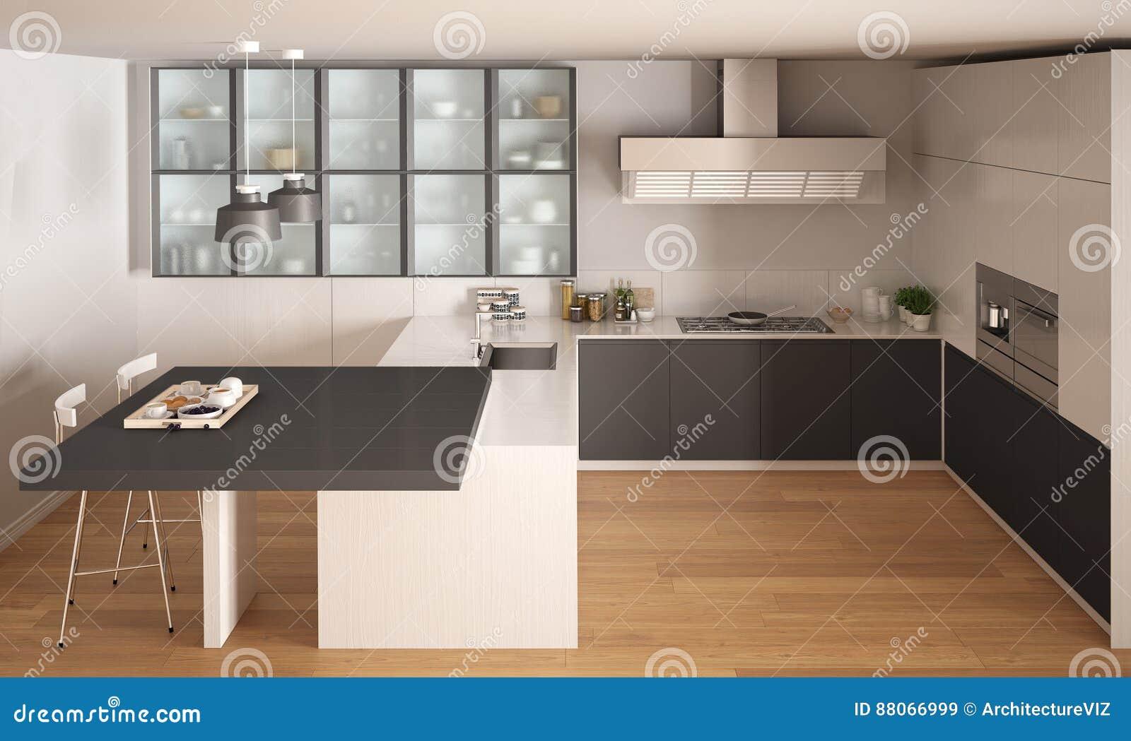 Klassieke minimale witte en grijze keuken met parketvloer moder