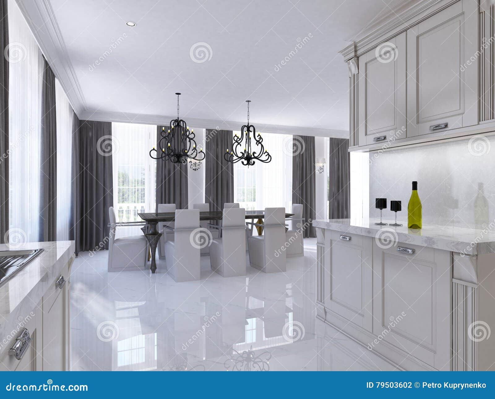 Klassieke witte keuken dinerende ruimte in de stijl van art deco