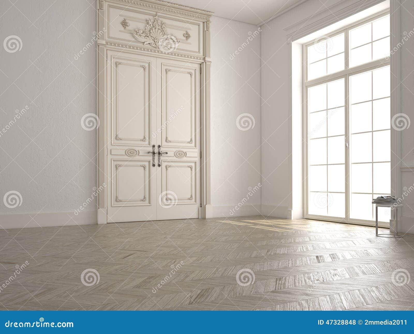 Klassieke witte ruimte met venster en een mening 3d