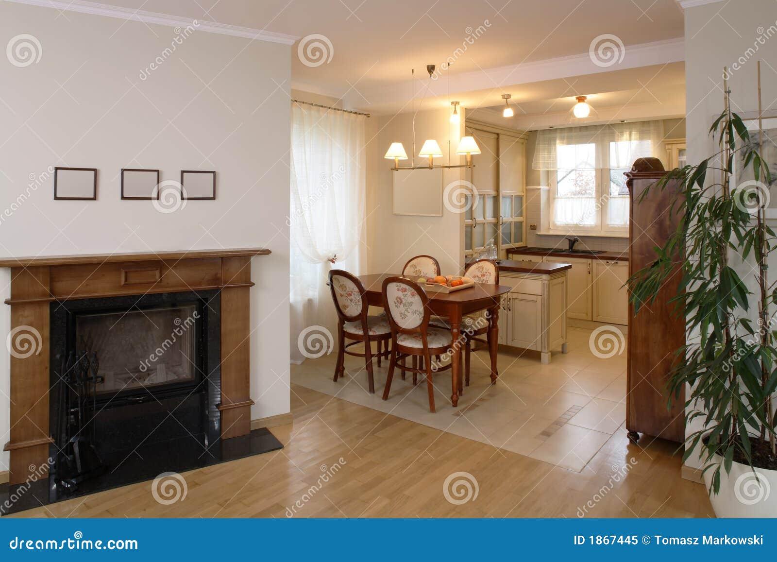 Klassieke Woonkamer En Keuken Stock Afbeelding - Afbeelding ...