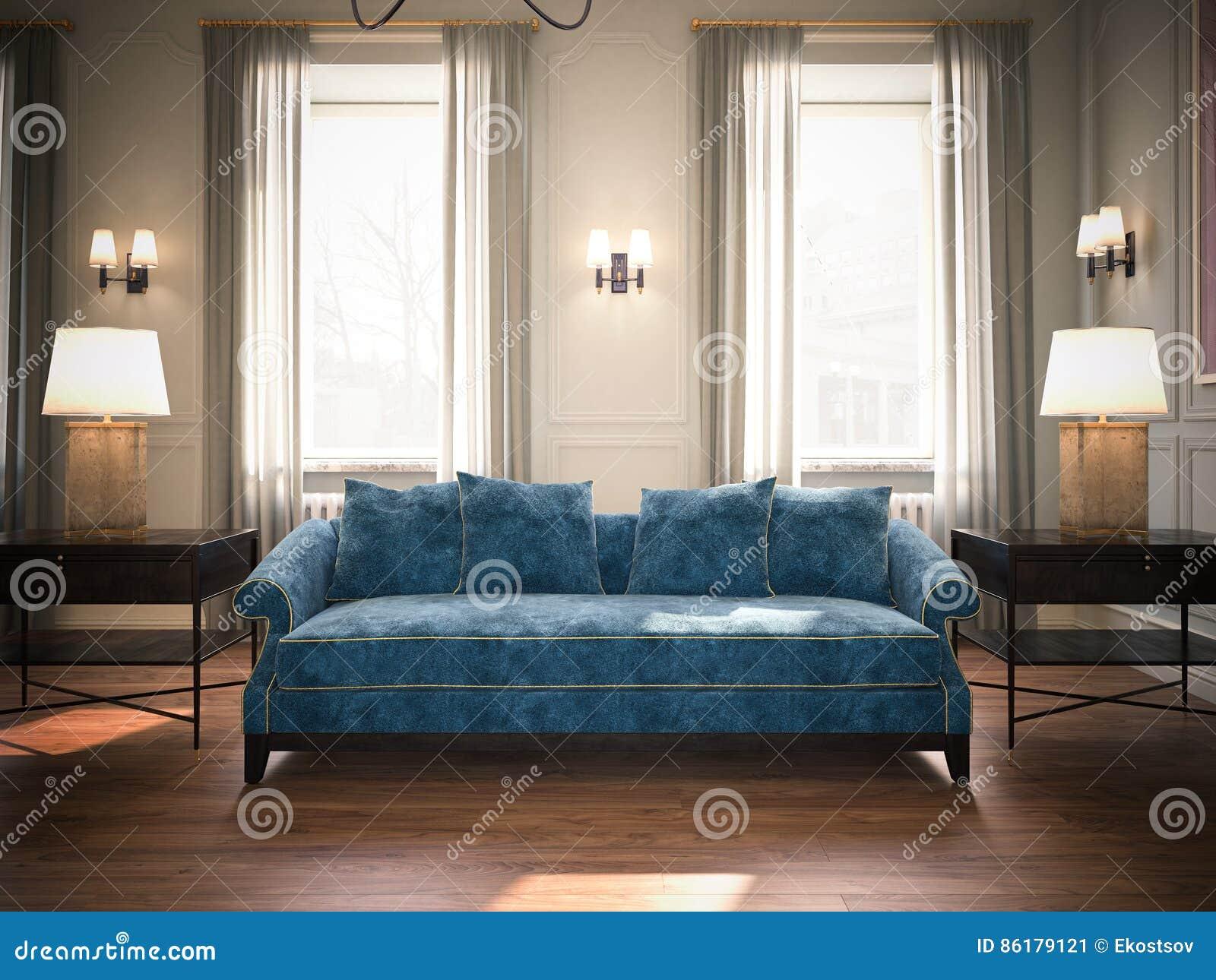 Blauwe Design Bank.Klassieke Woonkamer Met Blauwe Bank Het 3d Teruggeven Stock