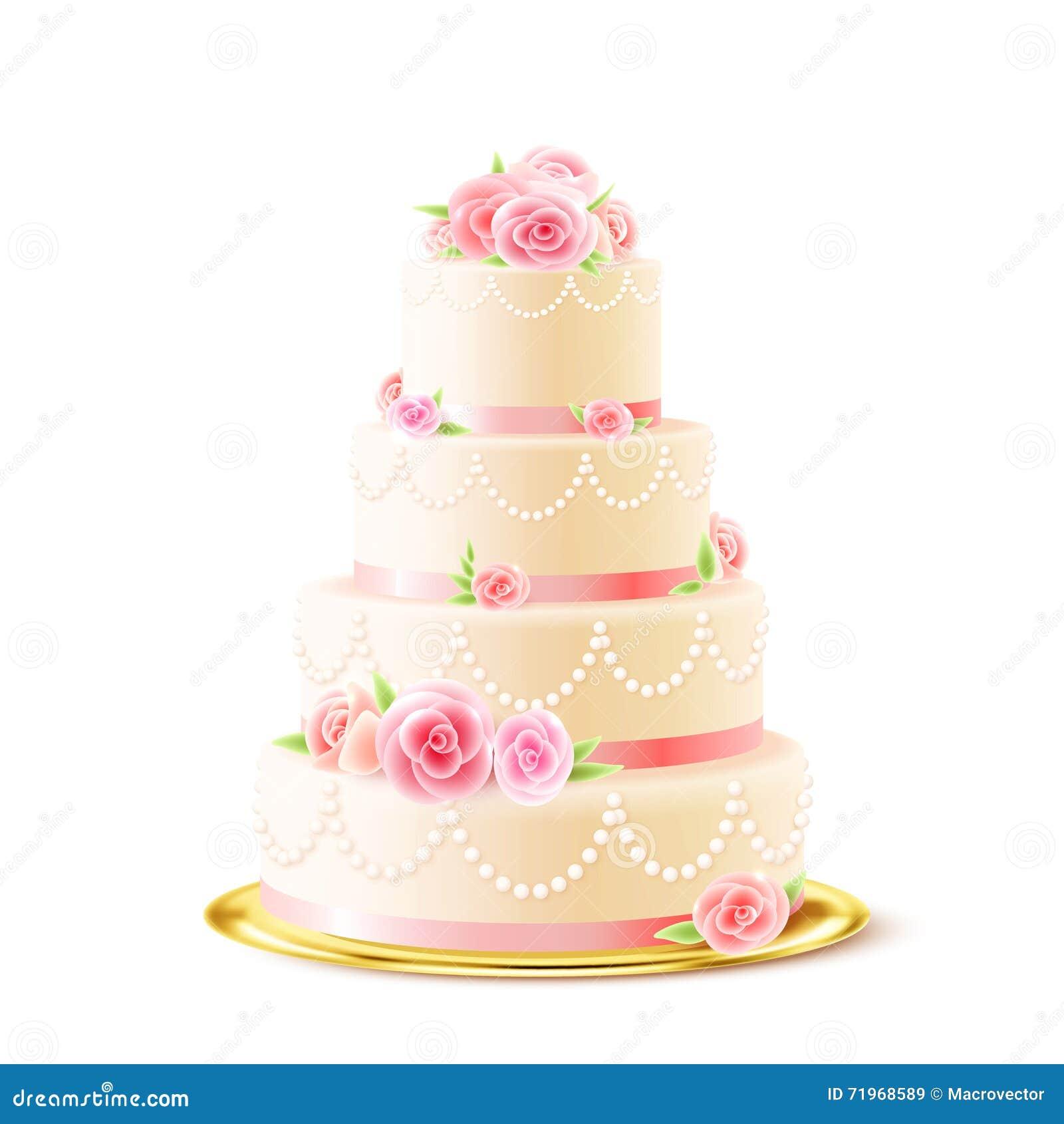 Klassische Hochzeitstorte Mit Den Rosen Realistisch Vektor Abbildung