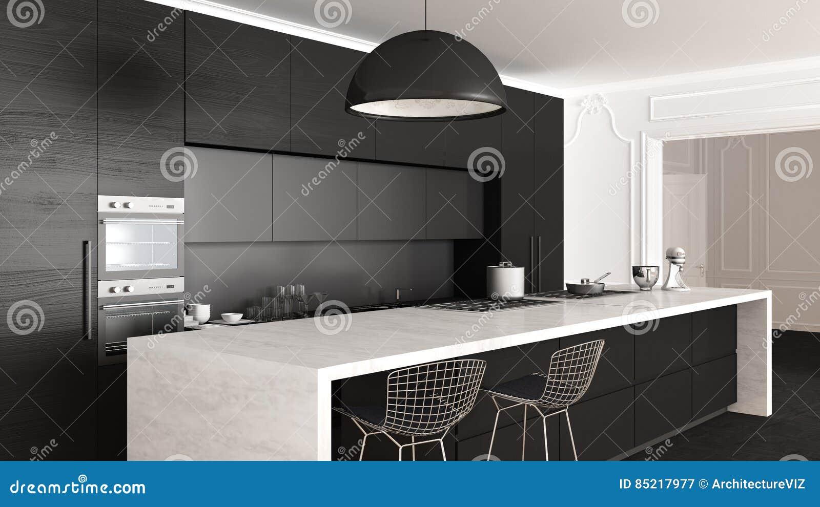 Klassische Küche, Minimalistic Innenarchitektur, Abschluss Oben ...