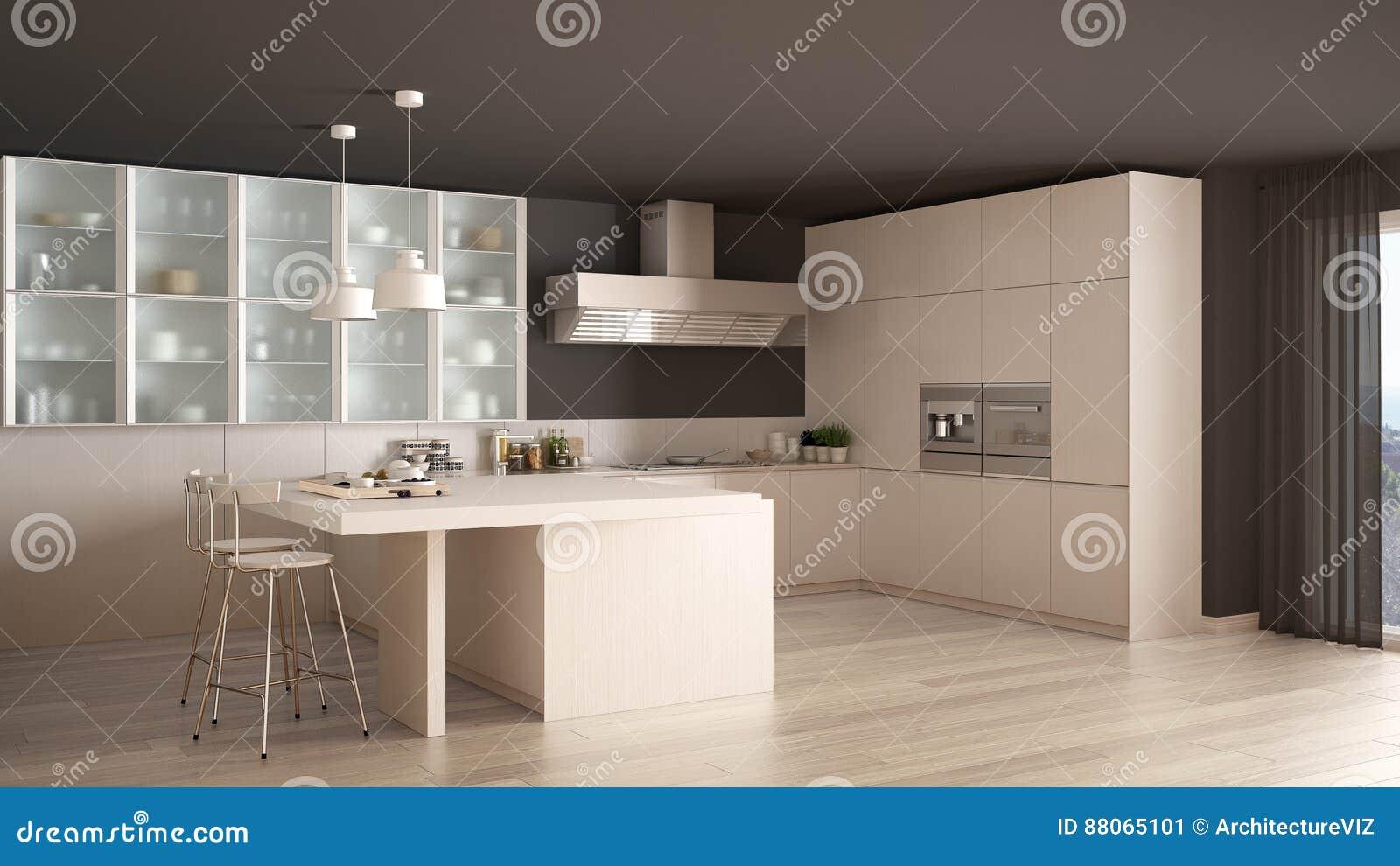 Klassische Minimale Weiße Küche Mit Parkettboden, Modernes Interio ...