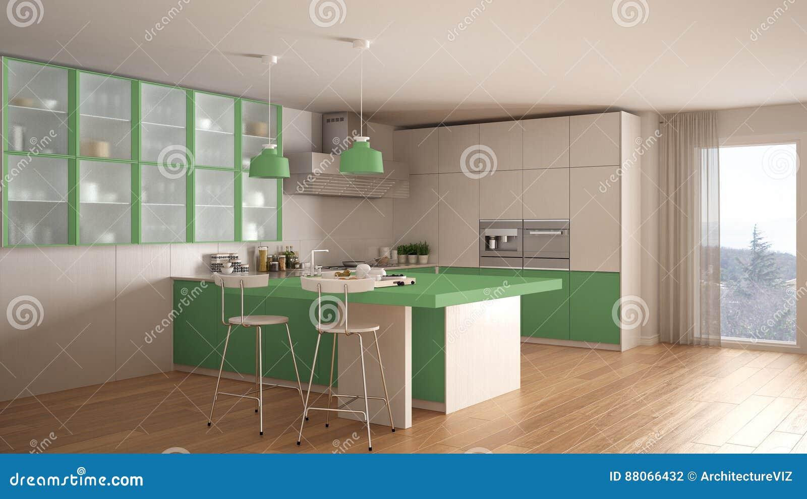 Klassische Minimale Weiße Und Grüne Küche Mit Parkettboden, Modus ...