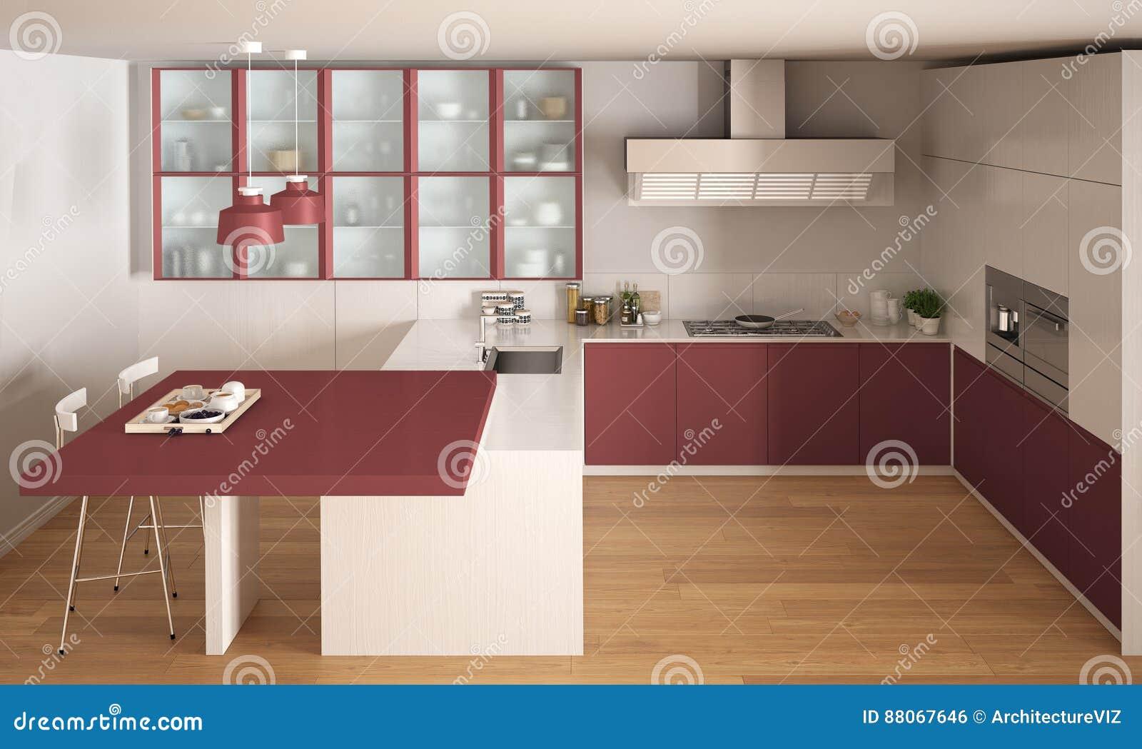 Klassische Minimale Weisse Und Rote Kuche Mit Dem Parkettboden
