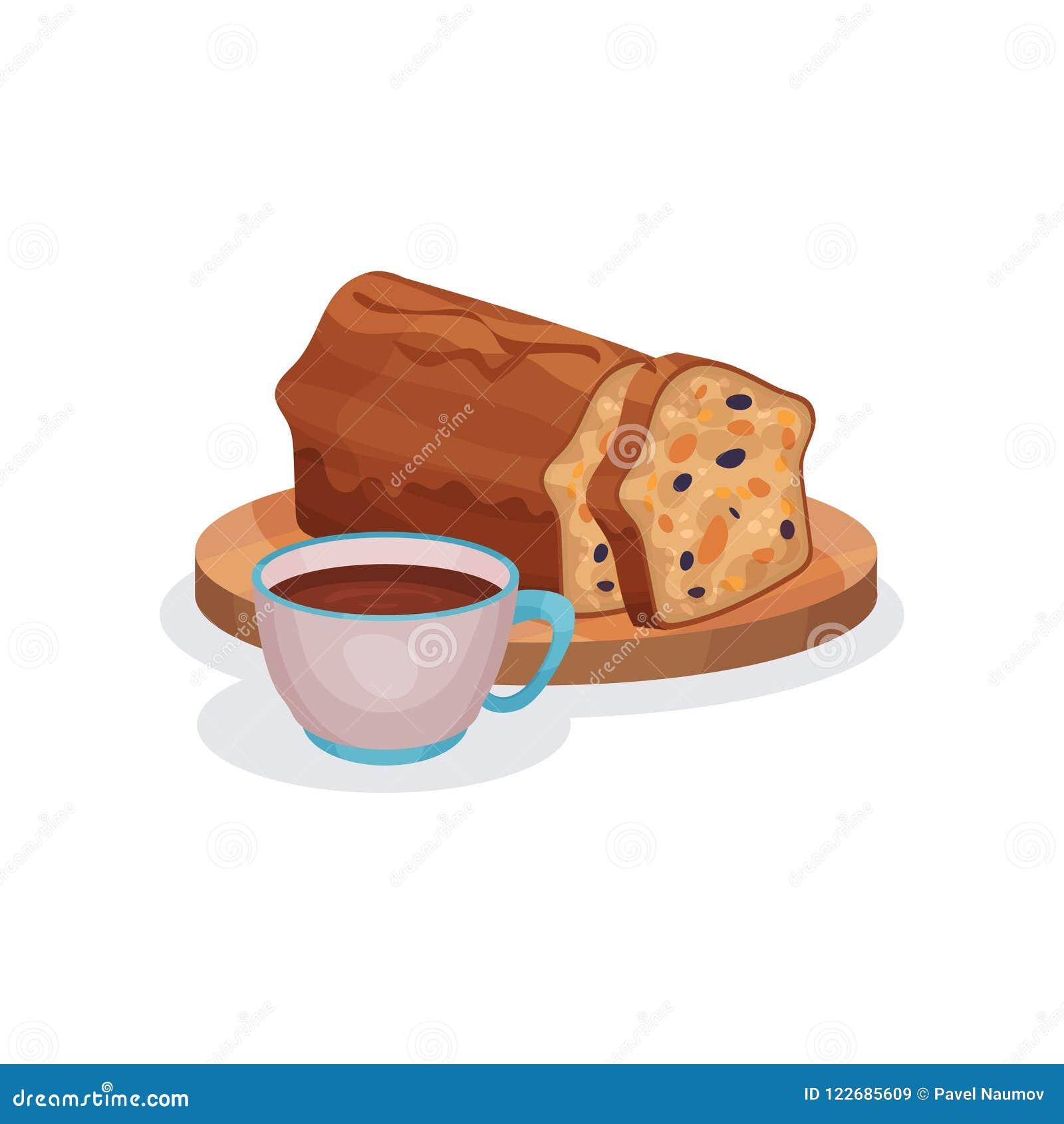 Klassischer Fruchtkuchen mit kandierter Frucht und Tasse Tee, traditionelle Illustration Vektor des englischen Frühstücks auf ein