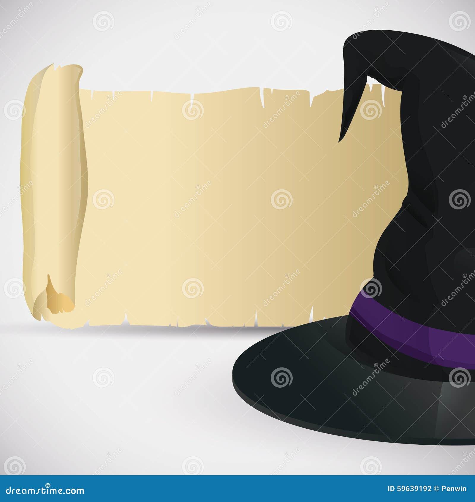 Klassischer Hexen-Hut mit alter Rolle