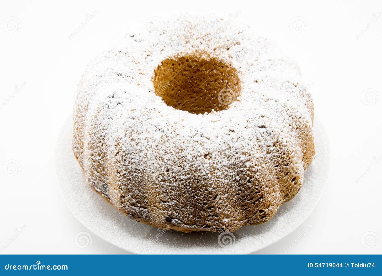 Klassischer Kuchen Mit Puderzucker Und Loch In Der Mitte Stockfoto
