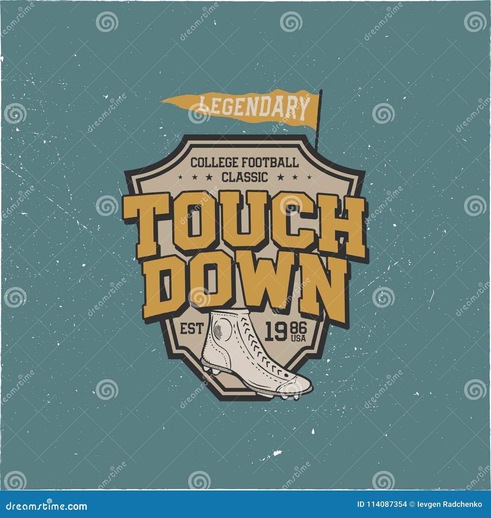 Klassisches Colleget-shirt Design, Schild Grafikdesign T-Stück des amerikanischen Fußballs Landungszeichen USA-Fußballweinlese t