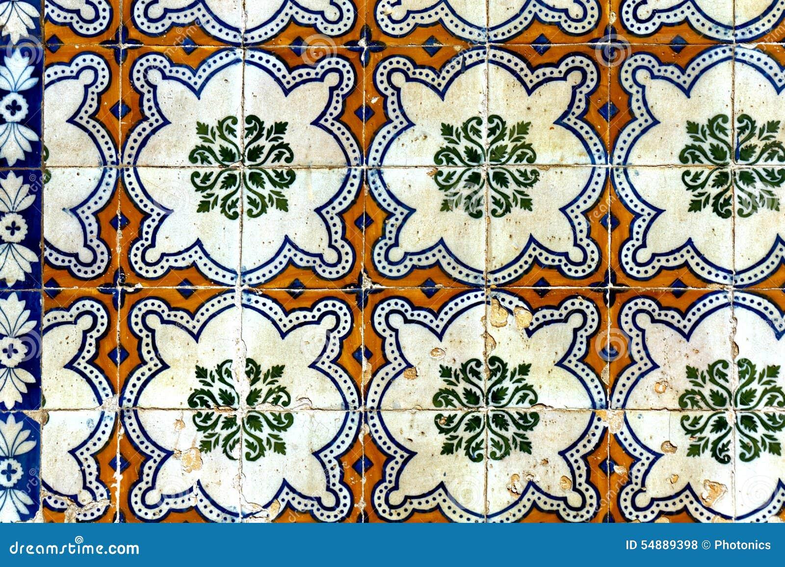 Klassisches mosaik muster auf wand fliesen stockfoto bild von bedeckung floral 54889398 - Fliesen auf fliesen wand ...