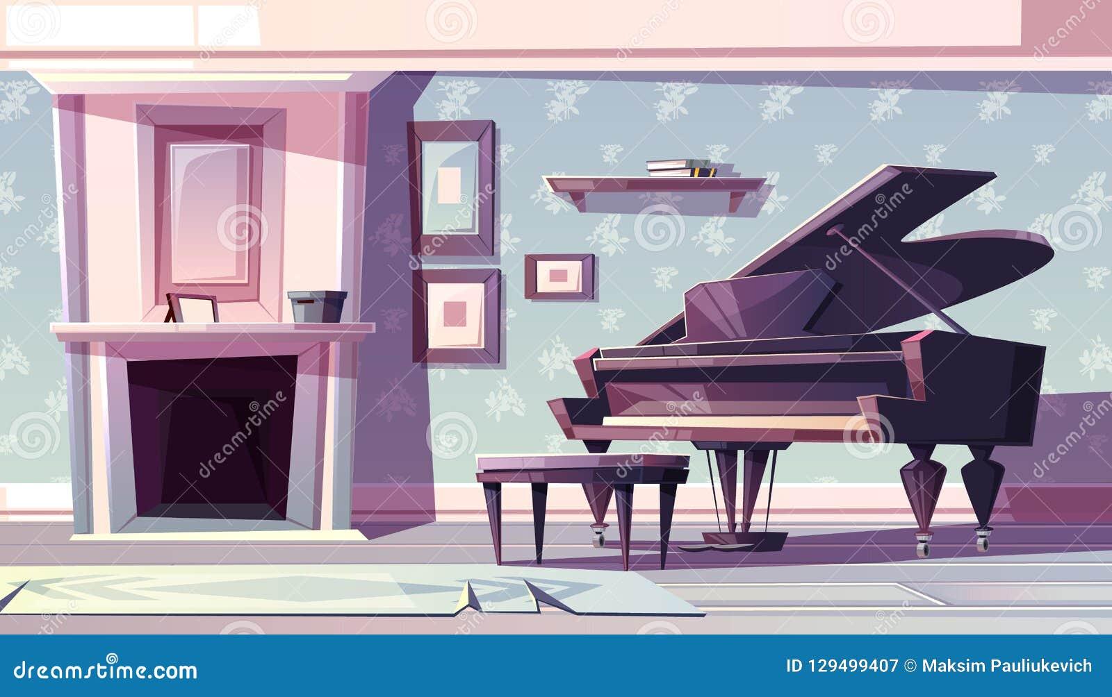 Klassisches Wohnzimmer mit Klavierkarikaturvektor