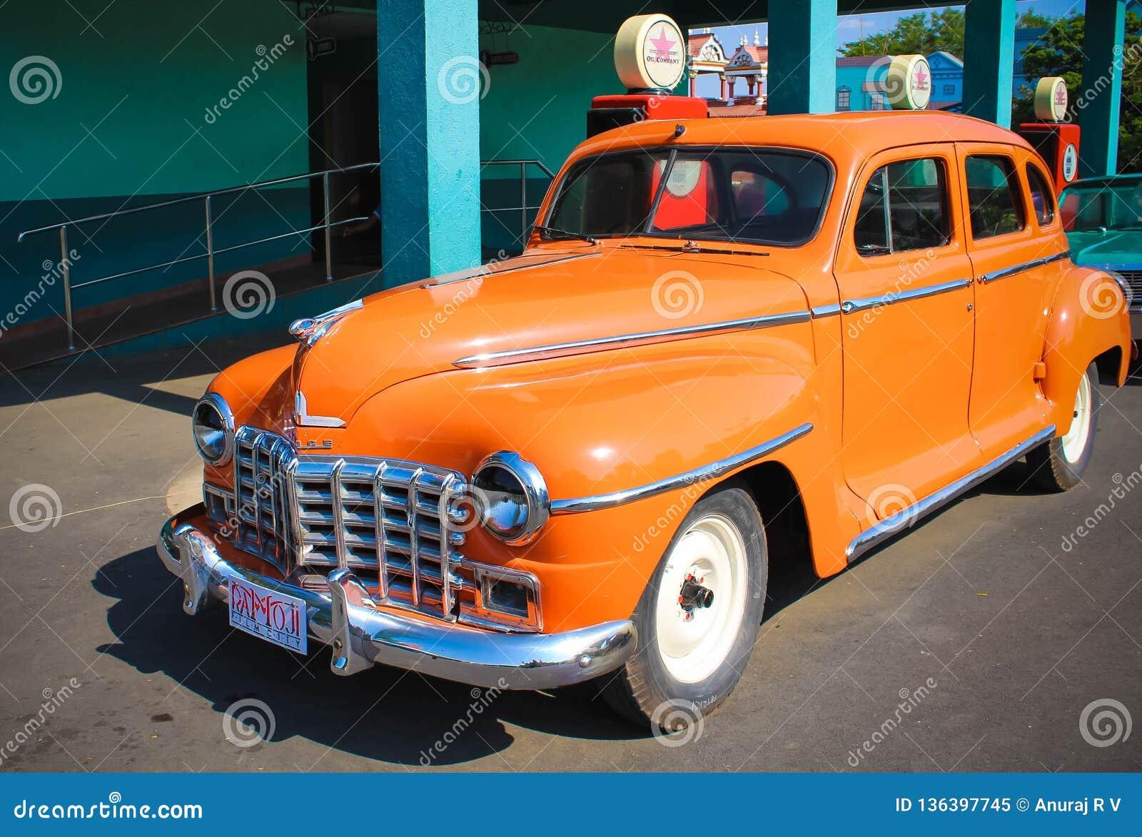 Klassisk amerikansk modell Car på den Ramoji filmstaden