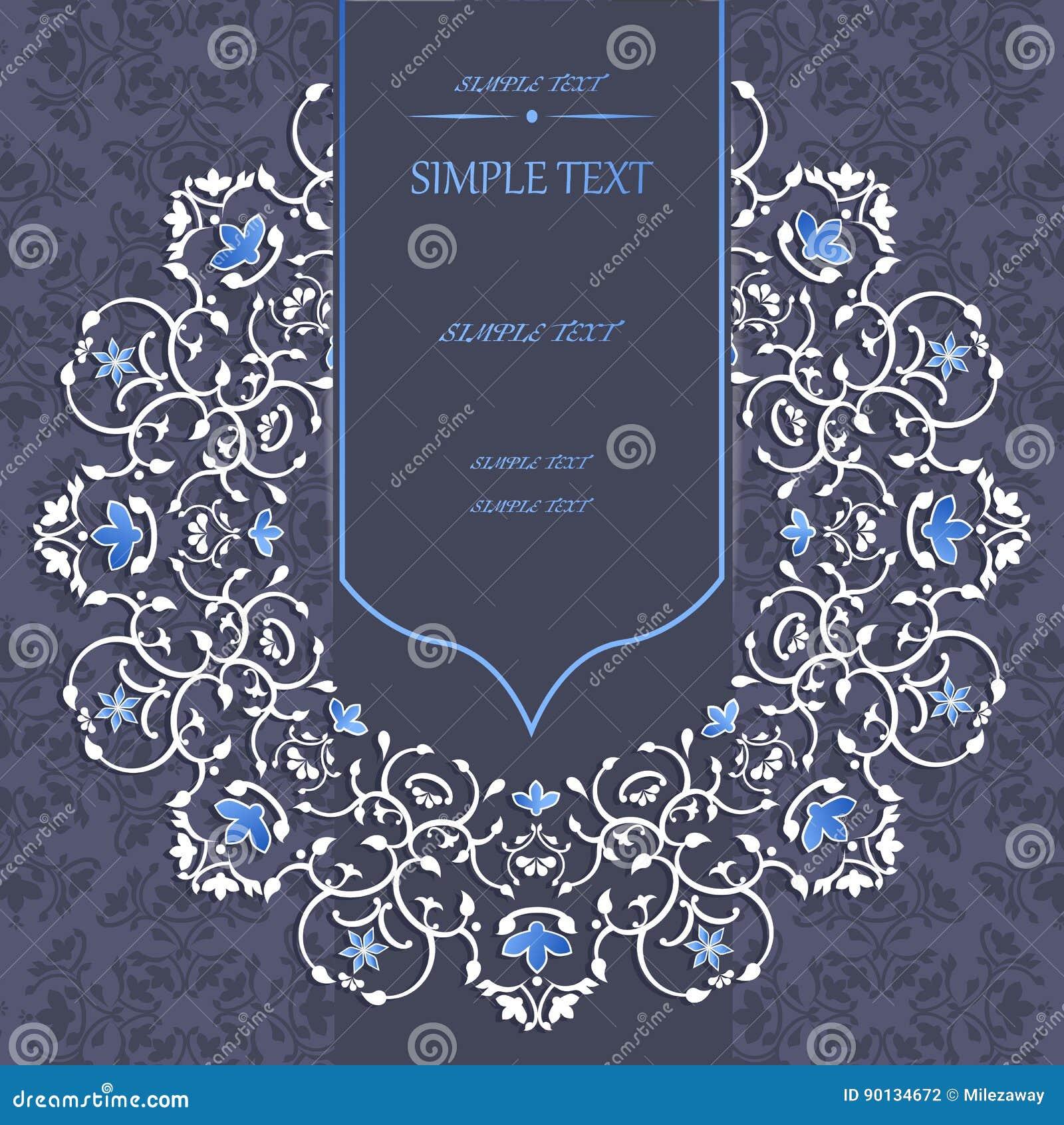 Klassisk design av mallen i blått och vit för hälsningkort