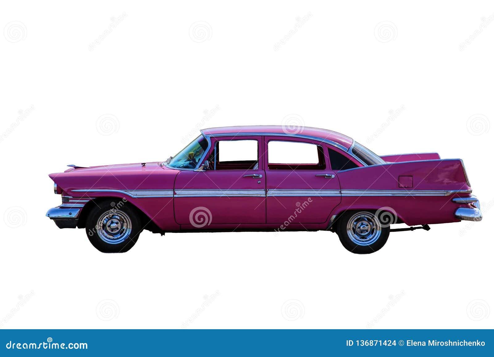 Klassisk modell av den rosa bilen från sidoproectionen, isolat, vit bakgrund