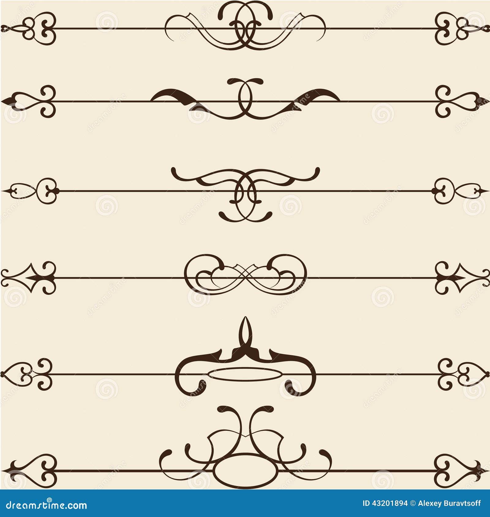 Download Klassisk Skiljelinjelinje Uppsättning Vektor Illustrationer - Illustration av nypremiär, paisley: 43201894