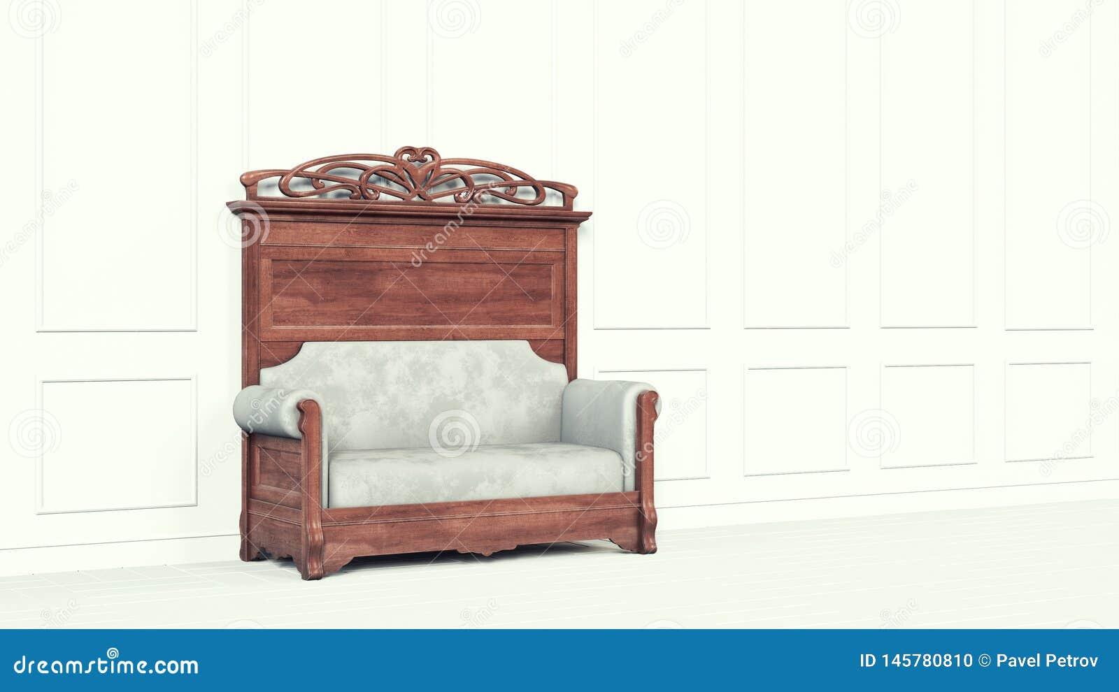Klassisk soffa för tappning bredvid en vit vägg Väggen dekoreras med stuckaturen f?r begreppsframsida f?r sk?nhet bl? ljus kvinna
