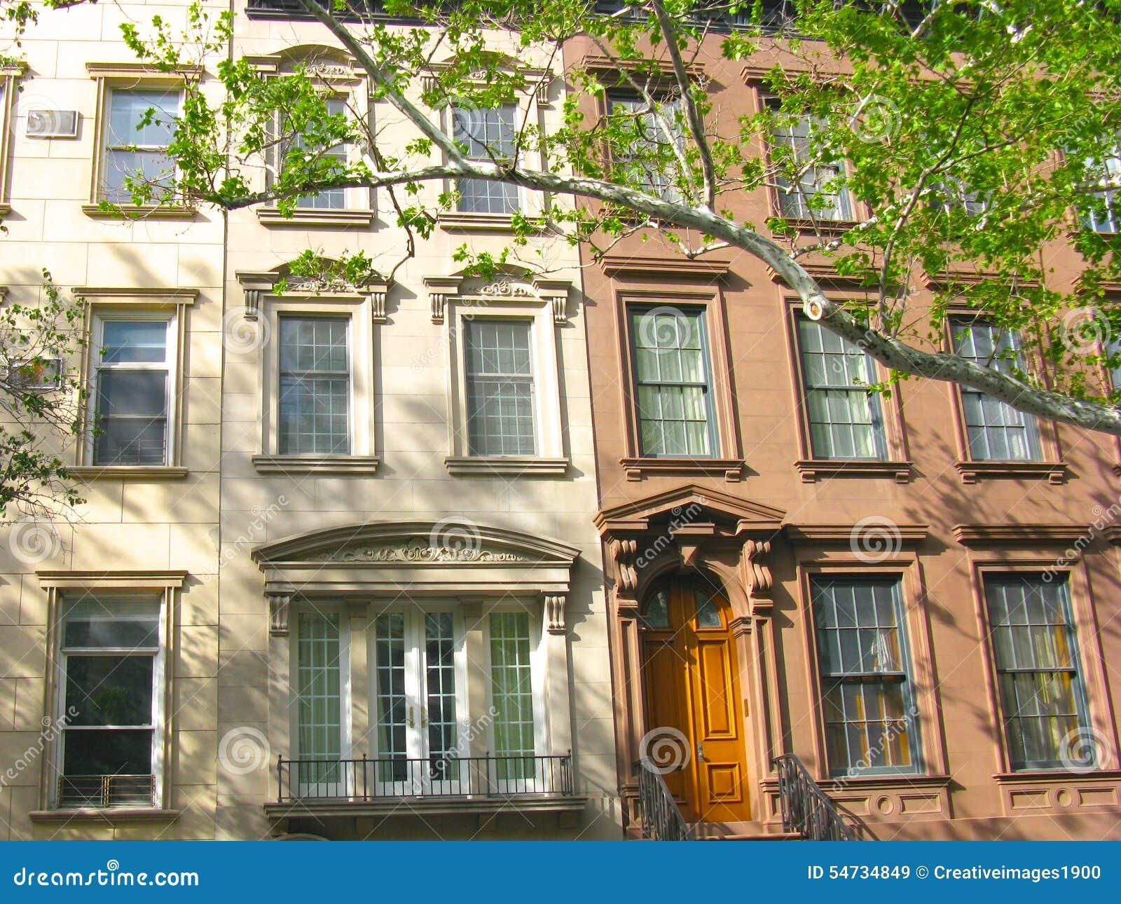Klassiska radhus på den övreöstliga sidan, New York City